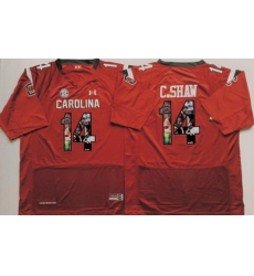 South Carolina Gamecocks 14 C Shaw Red Portrait Number College Jersey