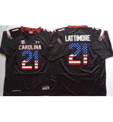 South Carolina Gamecocks 21 Marcus Lattimore Black USA Flag College Jersey