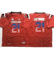 South Carolina Gamecocks 21 Marcus Lattimore Red USA Flag College Jersey