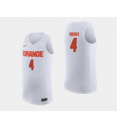 Men Syracuse Orange Elijah Hughes White College Basketball Jersey