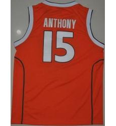 Orange #15 Carmelo Anthnoy Orange Basketball Embroidered NCAA Jersey
