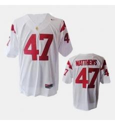 Men Usc Trojans Clay Matthews College Football White Jersey
