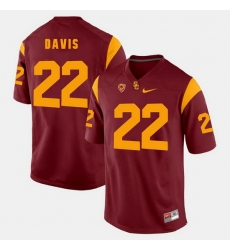 Men Usc Trojans Justin Davis Pac 12 Game Red Jersey