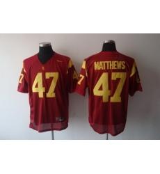 Trojans #47 Clay Matthews Red Stitched NCAA Jersey