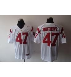 Trojans #47 Clay Matthews White Stitched NCAA Jersey