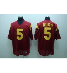 Trojans #5 Reggie Bush Red Embroidered NCAA Jersey