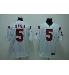 Trojans #5 Reggie Bush White Embroidered NCAA Jersey