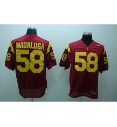Trojans #58 Rey Maualuga Red Embroidered NCAA Jersey