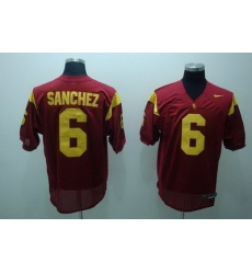 Trojans #6 Mark Sanchez Red Embroidered NCAA Jersey