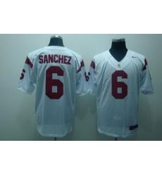 Trojans #6 Mark Sanchez White Embroidered NCAA Jersey
