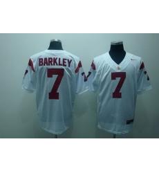 Trojans #7 Matt Barkley White Embroidered NCAA Jersey