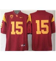 USC Trojans #15 Red PAC 12 C Patch Stitched NCAA Jersey