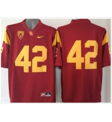 USC Trojans #42 Ronnie Lott Red PAC 12 C Patch Stitched NCAA Jersey