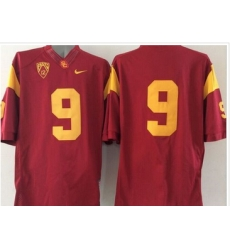 USC Trojans #9 Red PAC 12 C Patch Stitched NCAA Jersey