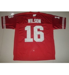 Badgers #16 Russell Wilson Red Embroidered NCAA Jersey
