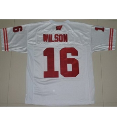 Badgers #16 Russell Wilson White Embroidered NCAA Jersey