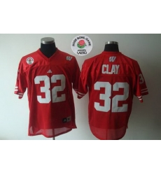 Badgers #32 John Clay Red Rose Bowl Game Stitched NCAA Jersey