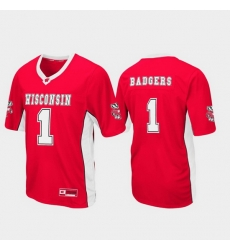 Men Wisconsin Badgers 1 Red Max Power Football Jersey
