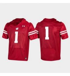 Men Wisconsin Badgers 1 Red Replica College Football Jersey