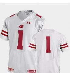 Men Wisconsin Badgers 1 White College Football Premier Jersey