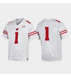 Men Wisconsin Badgers 1 White Replica College Football Jersey