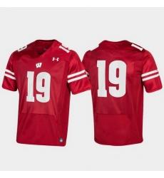 Men Wisconsin Badgers 19 Red Replica Jersey