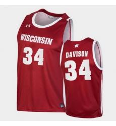 Men Wisconsin Badgers Brad Davison Replica Red College Basketball Jersey