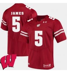 Men Wisconsin Badgers Chris James Red Alumni Football Game Ncaa 2018 Jersey