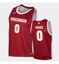 Men Wisconsin Badgers D'Mitrik Trice Replica Red College Basketball Jersey