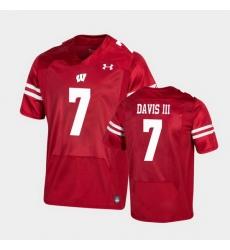 Men Wisconsin Badgers Danny Davis Iii Premier Red Football Jersey