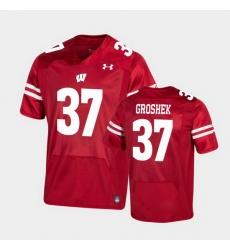 Men Wisconsin Badgers Garrett Groshek Premier Red Football Jersey