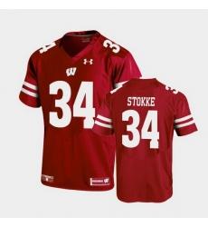 Men Wisconsin Badgers Mason Stokke Replica Red Football Jersey