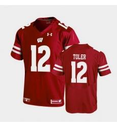 Men Wisconsin Badgers Titus Toler Replica Red Football Jersey