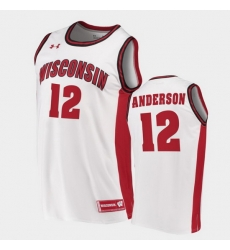 Men Wisconsin Badgers Trevor Anderson Replica White College Basketball Jersey