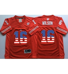 Wisconsin Badgers 16 Russell Wilson Red USA Flag College Jersey