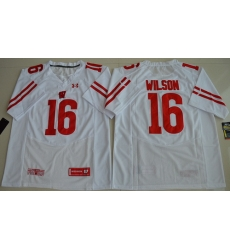 Wisconsin Badgers 16 Russell Wilson White College Jersey