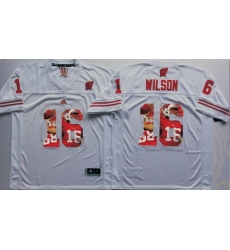 Wisconsin Badgers 16 Russell Wilson White Portrait Number College Jersey
