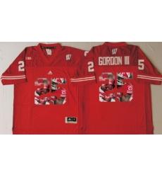 Wisconsin Badgers 25 Melvin Gordon III Red Portrait Number College Jersey