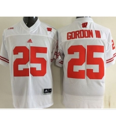 Wisconsin Badgers #25 Melvin Gordon III White Stitched NCAA Jersey