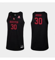 Men Houston Cougars Caleb Broodo Black Replica College Basketball Jersey