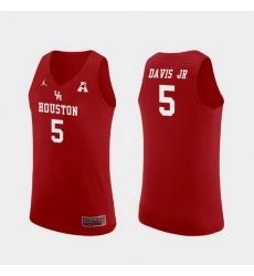 Men Houston Cougars Corey Davis Jr. Red Replica College Basketball Jersey
