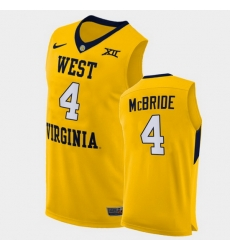 Men West Virginia Mountaineers Miles Mcbride Alternate Yellow Authentic Jersey