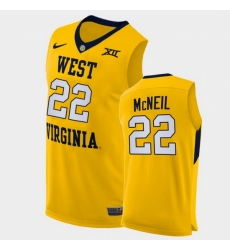 Men West Virginia Mountaineers Sean Mcneil Alternate Yellow Authentic Jersey