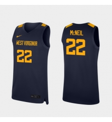 Men West Virginia Mountaineers Sean Mcneil Navy Replica College Basketball Jersey