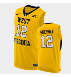 Men West Virginia Mountaineers Taz Sherman Alternate Yellow Authentic Jersey