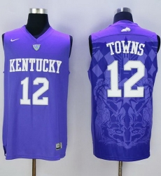 Wildcats #12 Karl Anthony Towns Blue Basketball Stitched NCAA Jersey