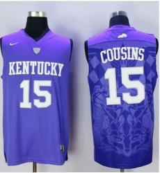 Wildcats #15 DeMarcus Cousins Blue Basketball Stitched NCAA Jersey