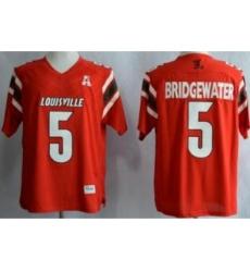 Louisville Cardinals 5 Teddy Bridgewater Red AAC Patch NCAA Techfit Jerseys