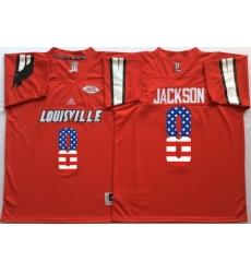 Louisville Cardinals 8 Lamar Jackson Red USA Flag College Jersey