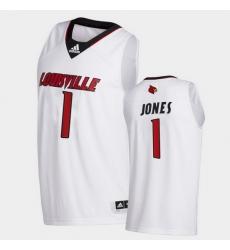Men Louisville Cardinals Carlik Jones College Basketball White Swingman 2020 21 Jersey
